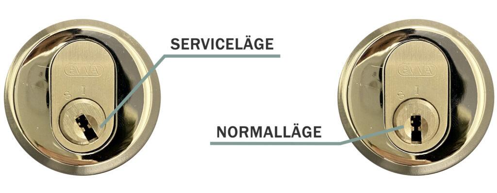 Illustration av dörrlås i serviceläge